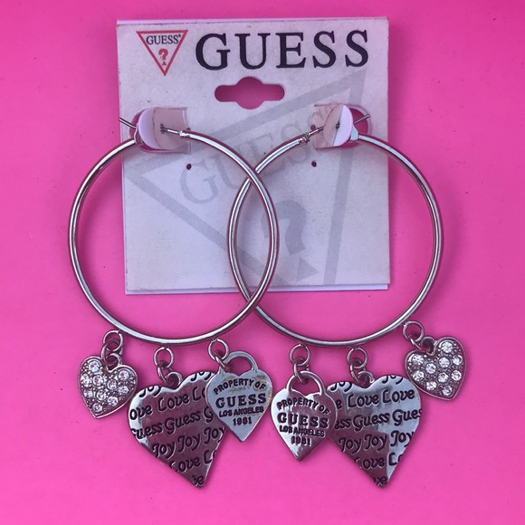 57898a8070f Silver Guess Hoop Earrings with Hearts